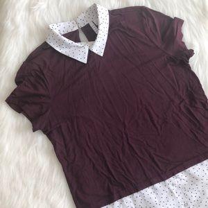 [elle] maroon shirt sleeve layered tee